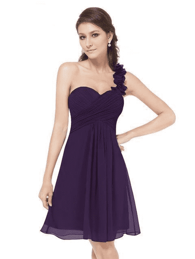 Pink Chiffon Short Elegant Pretty A Line One Shoulder Dress Dark Purple / 12 Cocktail Dresses