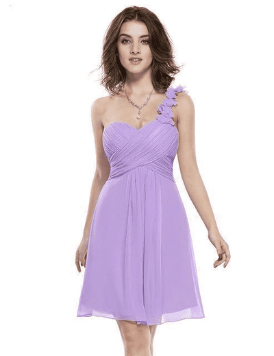 Pink Chiffon Short Elegant Pretty A Line One Shoulder Dress Lavender / 12 Cocktail Dresses