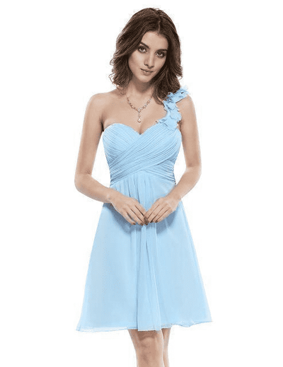Pink Chiffon Short Elegant Pretty A Line One Shoulder Dress Light Blue / 12 Cocktail Dresses