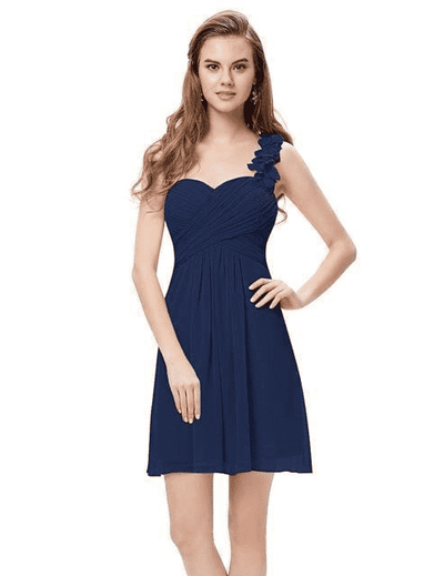 Pink Chiffon Short Elegant Pretty A Line One Shoulder Dress Navy Blue / 12 Cocktail Dresses