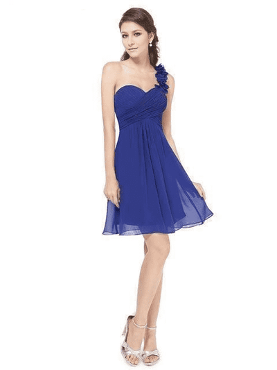 Pink Chiffon Short Elegant Pretty A Line One Shoulder Dress Sapphire Blue / 12 Cocktail Dresses