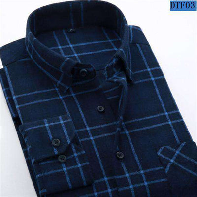 Plaid Shirt 100% Cotton Long Sleeve Dtf03 / Asian Size S Shirts