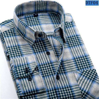 Plaid Shirt 100% Cotton Long Sleeve Dtf04 / Asian Size S Shirts