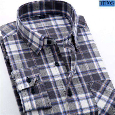 Plaid Shirt 100% Cotton Long Sleeve Dtf05 / Asian Size S Shirts