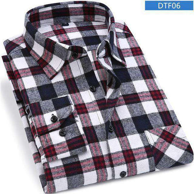 Plaid Shirt 100% Cotton Long Sleeve Dtf06 / Asian Size S Shirts