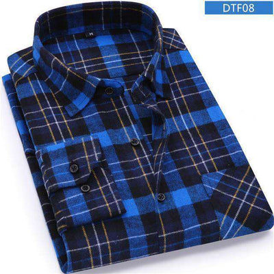 Plaid Shirt 100% Cotton Long Sleeve Dtf08 / Asian Size S Shirts