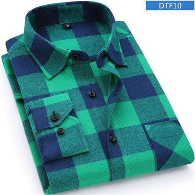 Plaid Shirt 100% Cotton Long Sleeve Dtf10 / Asian Size S Shirts