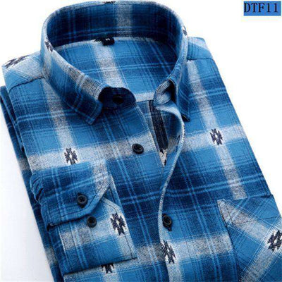 Plaid Shirt 100% Cotton Long Sleeve Dtf11 / Asian Size S Shirts