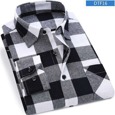 Plaid Shirt 100% Cotton Long Sleeve Dtf16 / Asian Size S Shirts