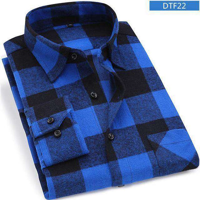 Plaid Shirt 100% Cotton Long Sleeve Dtf22 / Asian Size S Shirts