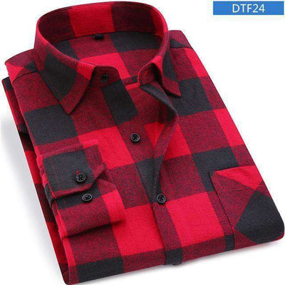 Plaid Shirt 100% Cotton Long Sleeve Dtf24 / Asian Size S Shirts