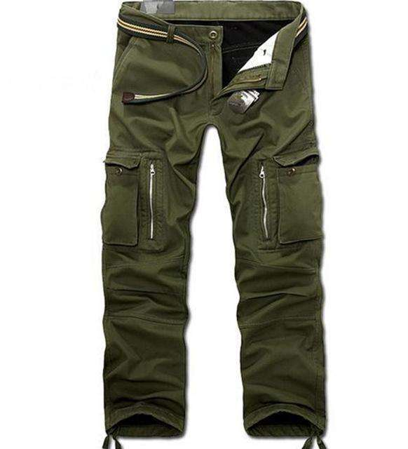 Plus Size Men Casual Military Baggy Cargo Pants Black / 28 Cargo Pants