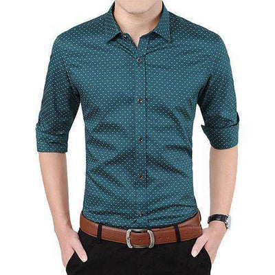 Polka Dot Casual Men Shirt Army Green / Asian Size M Shirts
