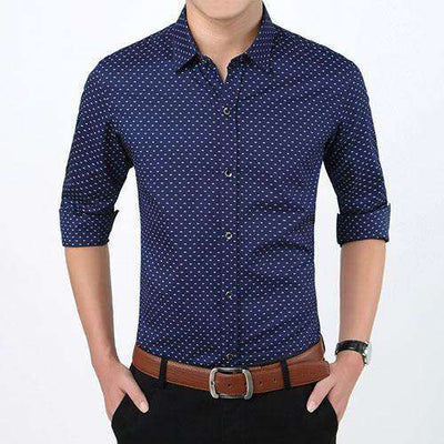 Polka Dot Casual Men Shirt Dark Blue / Asian Size M Shirts