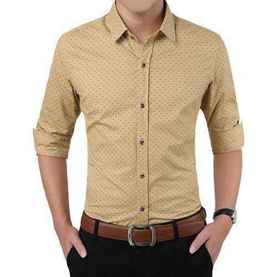 Polka Dot Casual Men Shirt Khaki / Asian Size M Shirts