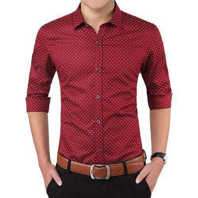 Polka Dot Casual Men Shirt Red / Asian Size M Shirts