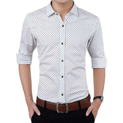 Polka Dot Casual Men Shirt White / Asian Size M Shirts