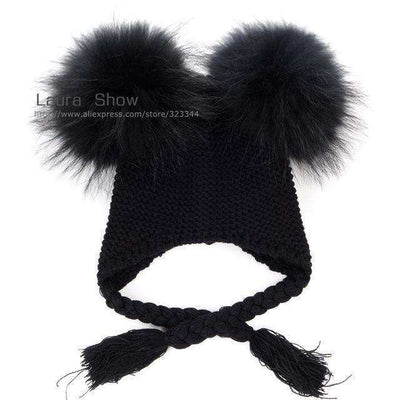 Pompoms Warm Sleep Wool Cap Kids Clothing Accessories Hat Black Black Pom