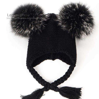 Pompoms Warm Sleep Wool Cap Kids Clothing Accessories Hat Black Pom