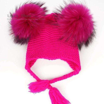 Pompoms Warm Sleep Wool Cap Kids Clothing Accessories Hat Fuchsia Pom