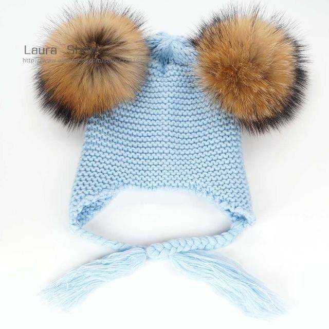Pompoms Warm Sleep Wool Cap Kids Clothing Accessories Hat Natural Pom 1
