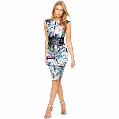2016 Summer Style Women Fashion Dress Vintage Geometric Print Dresses Sleeveless Elegant Bodycon Dress Casual Party Dress C2089