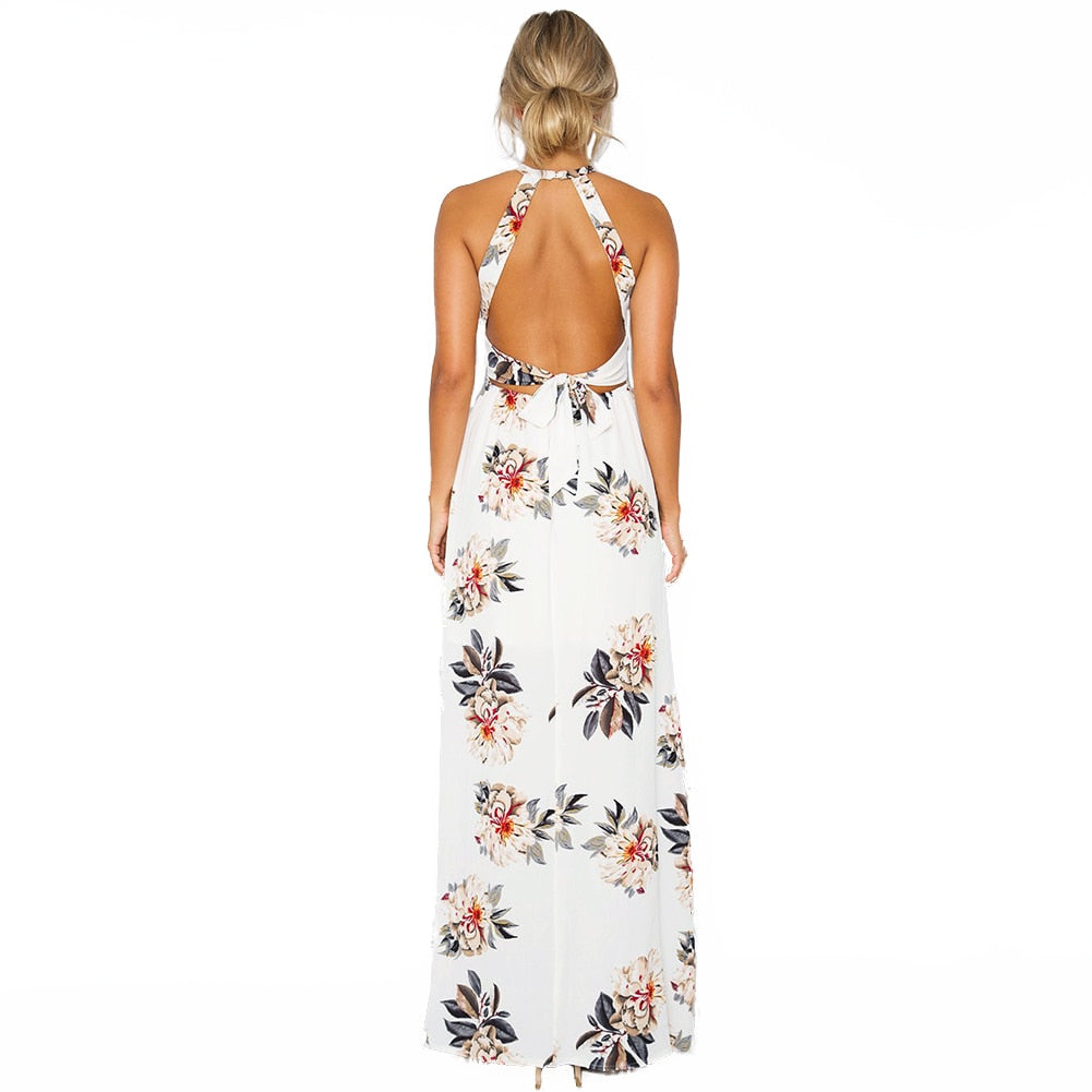 6be657c19bf Anself Bohemian Floral Print Summer Maxi Dress Off Shoulder Women Beach  Long Dress Backless Sexy Split