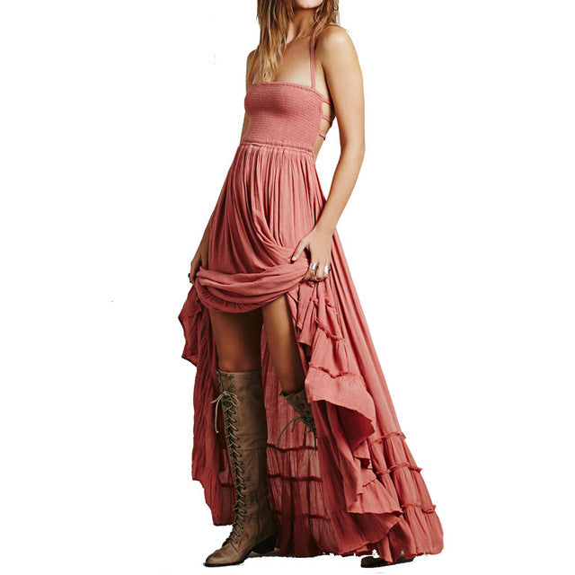 c8de0dab4bf19 Beach Dress 2017 Sexy Bohemia Female Holiday Dresses Summer Long backless  cotton Women Party hippie chic vestidos mujer