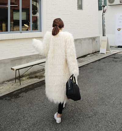 Stylish 4 inches Long Hairy Shaggy Faux Sheep Fur Coat Long sleeve Long Outwear Woman Winter keep Warm Mid long Coat Tops