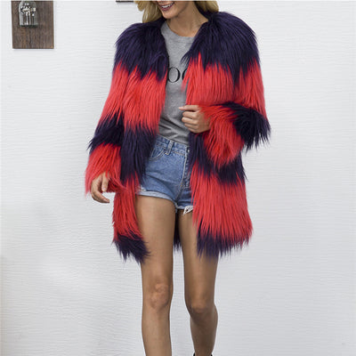 CbuCyi Winter Coats Women Long Faux Fur Coat V-neck Casual Female Patchwork Fur Jackets Overcoats Plus Size S-3XL 2 Colors