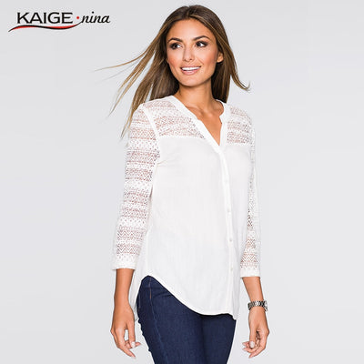 2018 Autumn Plus Size Women Clothing Pure Colour Line Casual Long Sleeve Openwork lace elegant Top T-shirt for Women 98018