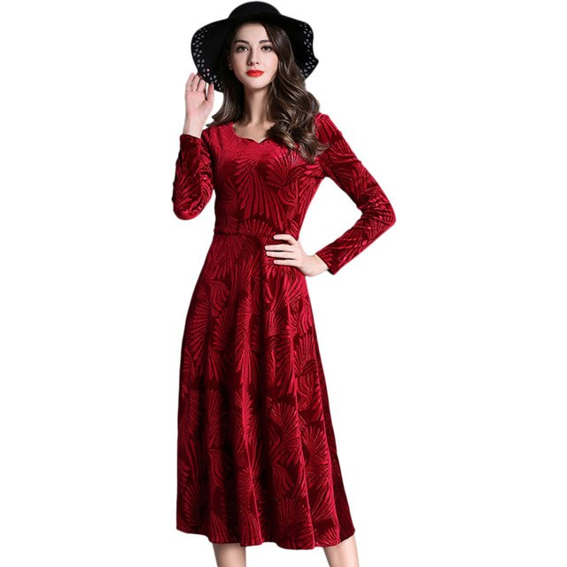 766dee0097c3a Womens Autumn Winter Vintage Velvet Long Sleeve Work Party Evening Pleated  Swing Fit and Flare A Line Dress