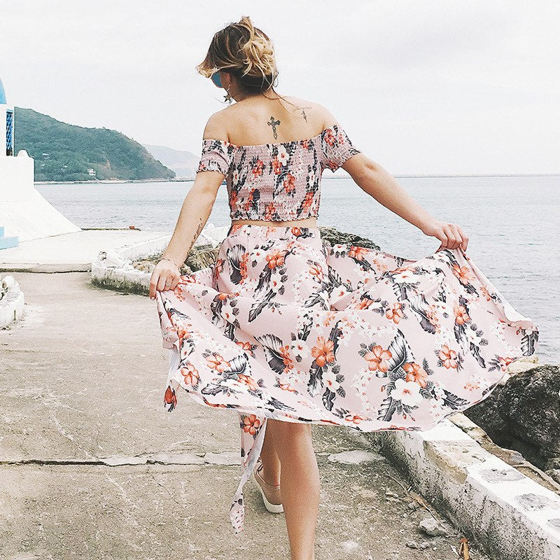 2d14eb7a790f9 Danjeaner Off Shoulder Floral Print Summer Maxi Dress Plus Size Women Two  Piece Set Beach Dress