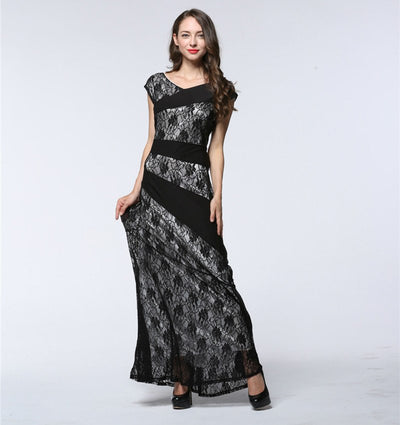 2018 Elegant Women Club Party Dress O Neck Sleeveless Hollow Out Lace Dress Floor Length Sexy Long Floral Dress Vestidos longos