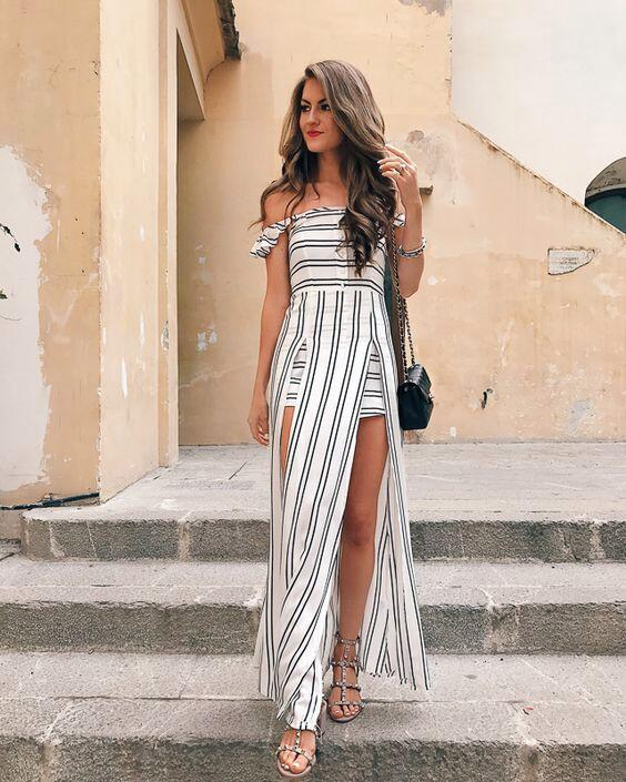 313fb775747 black and white Striped Ruffle backless sexy long dress Vintage boho beach  summer dress women Split