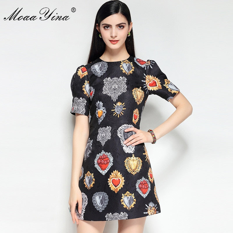 40601d1d8ab30 MoaaYina 2018 High Quality Fashion Designer Runway Dress Spring Women Puff  Sleeves Jacquard Floral Print Casual Vintage Dress