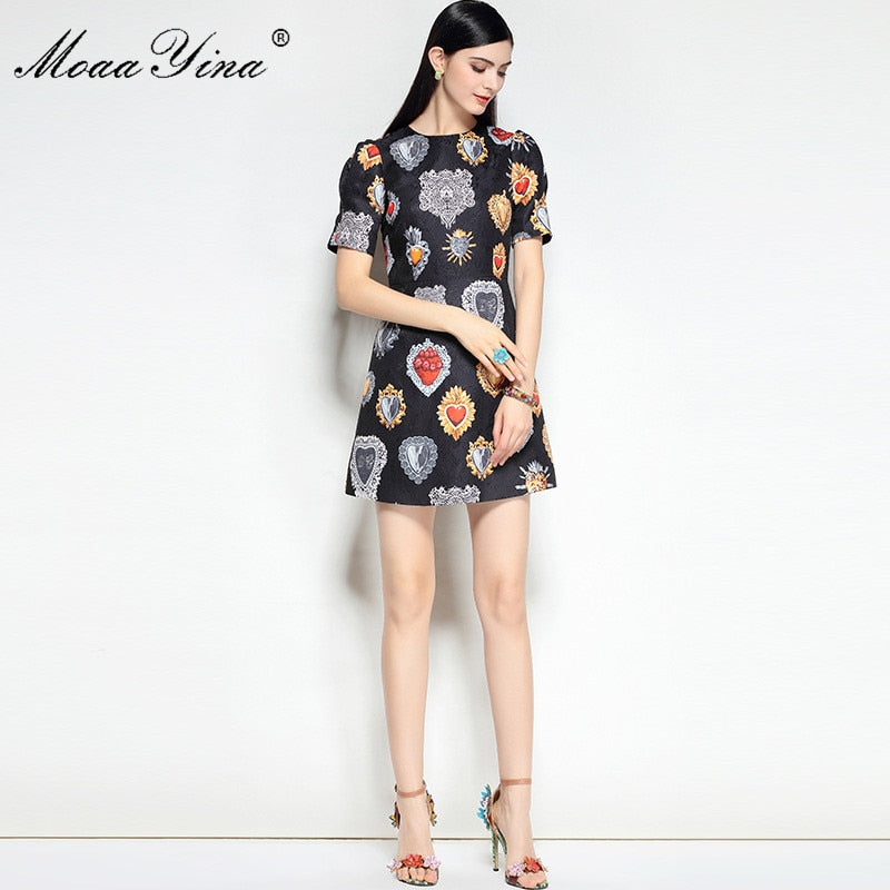 MoaaYina 2018 High Quality Fashion Designer Runway Dress Spring Women Puff Sleeves Jacquard Floral Print Casual Vintage Dress