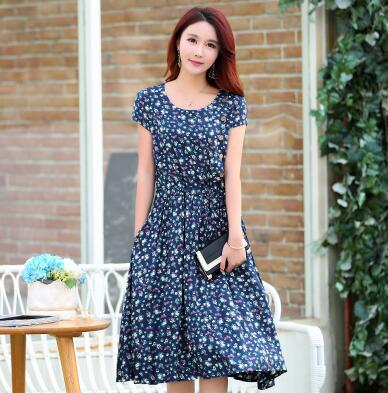 033786016fc Summer new middle aged women retro dress floral printing large plus size  mother dress O neck