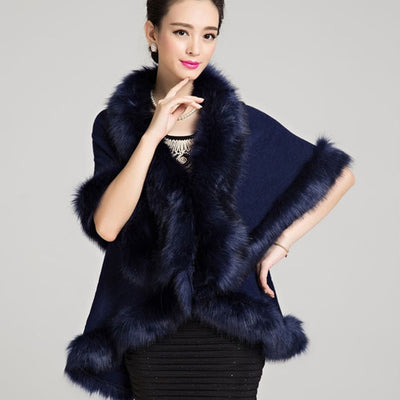 New Fashion Women Faux Fur Coat Black White Long Wool Cashmere Cardigan Women Poncho Knitted Sweater Women Scarves 12 Colors