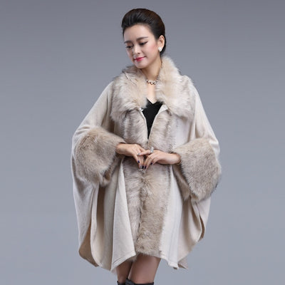 Autumn Winter Women's Long  Luxury  Cardigans Fake Fox Fur Collar Cashmere Sweaters Shawl Knitted Cardigan Poncho Cape