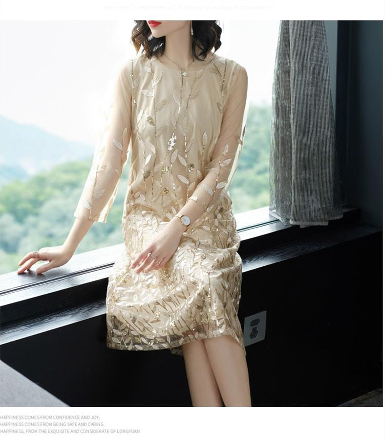 1f91ac31be3 Casual Floral Embroidery Gold Sequin Dress Women Midi Straight Mesh Plus  Size Women Vintage Lace Dress