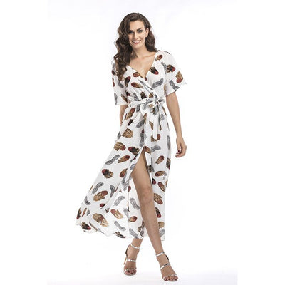 0553cd1701 Summer Maxi Chiffon Dress New Women Floral Feather Print Dresses Deep V-Neck  Side Split