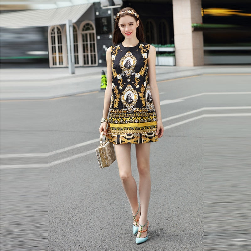 2018 Latest Summer New Arrival O-Neck Sleeveless Europe Style Vintage Print Diamonds Fashion Above knee Tank Dress Women