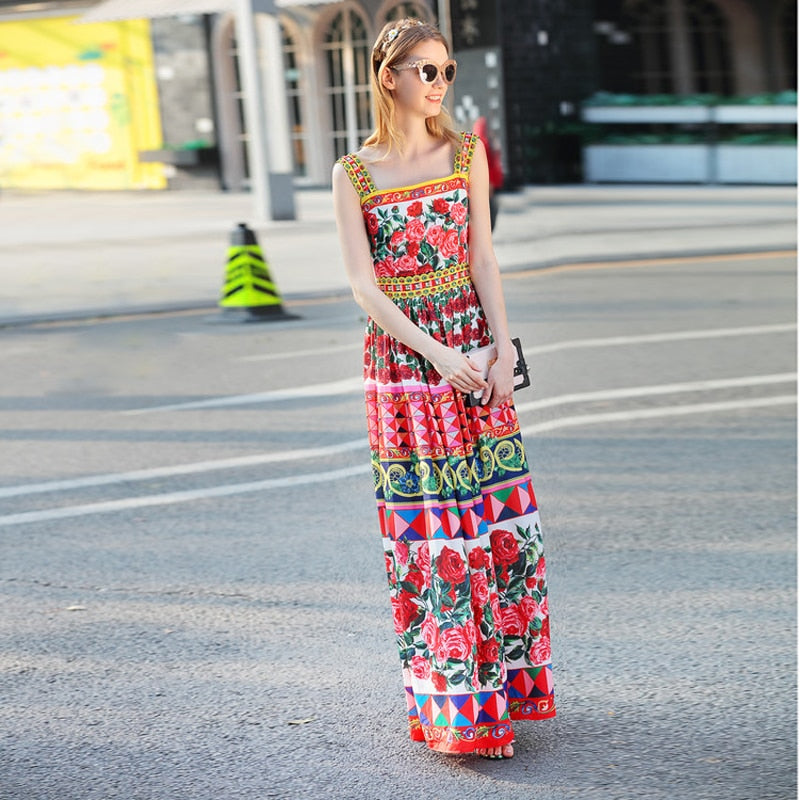 High Quality 2018 Summer New Runway Maxi Dress Women's Spaghetti Strap Cute Charming Rose Flower Floral Print Beading Long Dress