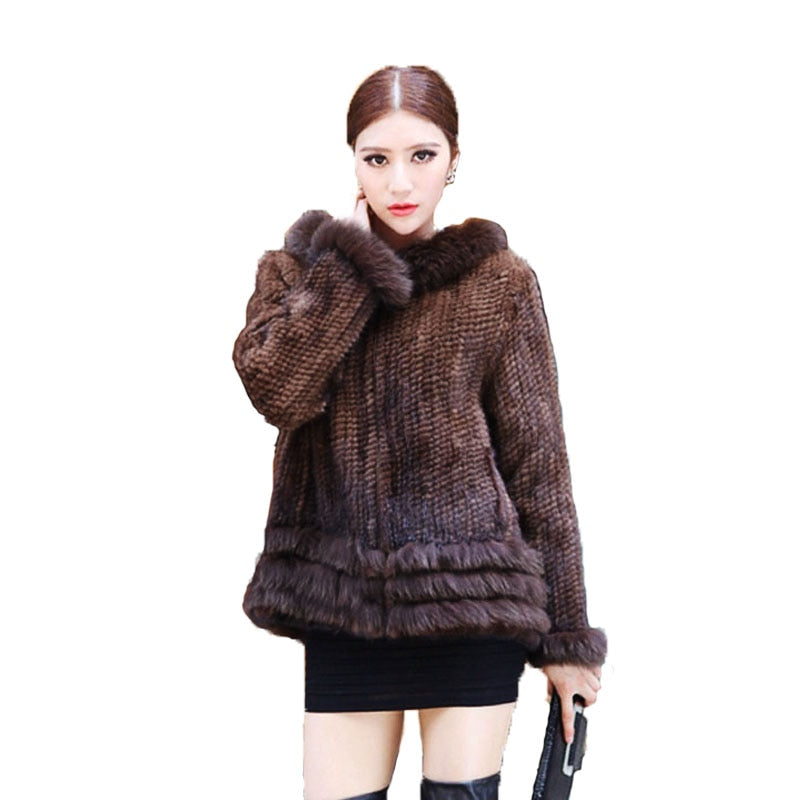bf122d29a Hot Sell Winter Lady Fashion Genuine Natural Knitted Mink Fur Coat Jacket  With Hood Women's Fur Outerwear Coats Garment