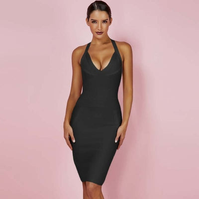 Ocstrade Summer Womens Bandage Dresses New Arrival 2018 Bodycon Black  Bandage Dress Halter Sexy High Quality c03d13433567