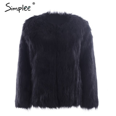 Simplee Casual furry faux fur coats women Fake fur coat female short pink coat 2018 winter clothing party colored fur overcoat