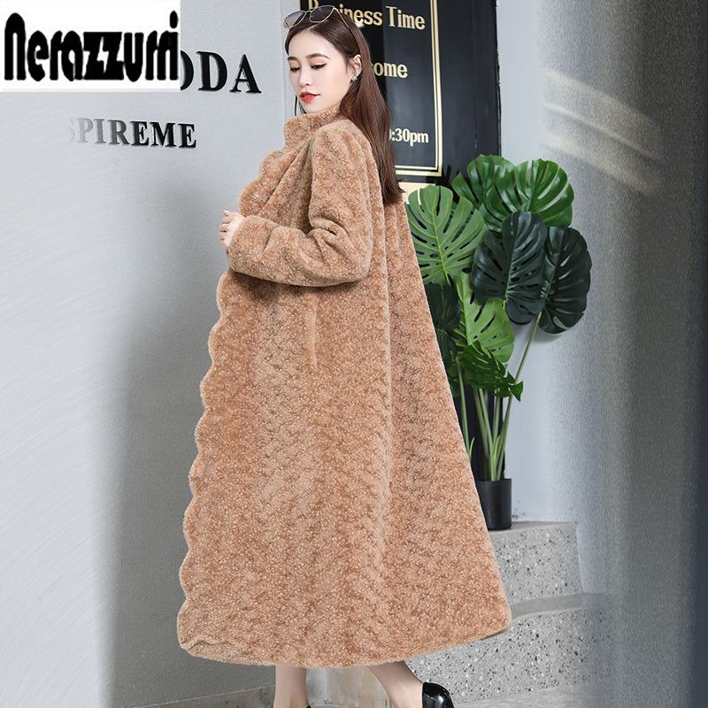 Nerazzurri Winter real fur coat 2018 winter Scallop placketb colored fur coats sheared lamb fur overcoat plus size 5xl 6xl 7xl