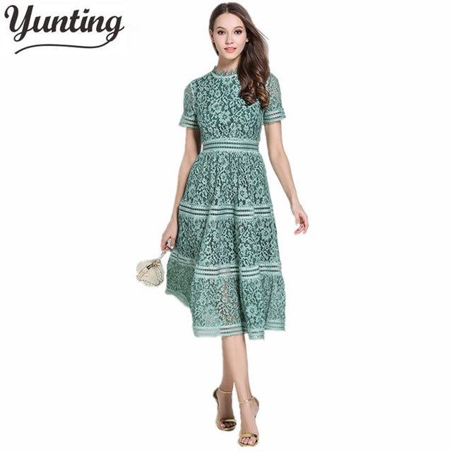 yunting 2019 spring and Summer Runway Designer Dress Women's Luxury Brand Short Sleeve Lace Dress
