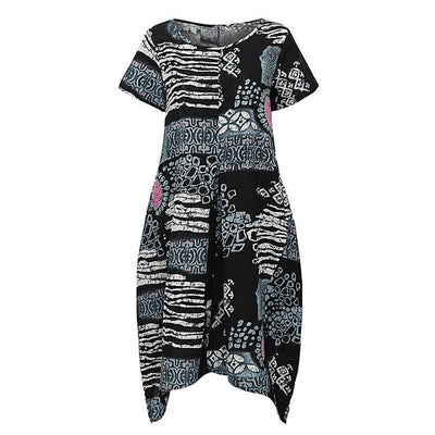 2018 New Women Summer Dress XXXL 4XL 5XL Plus Size Casual Dress Print O Neck Short Sleeve Big Size Party Boho Midi Robe Dress